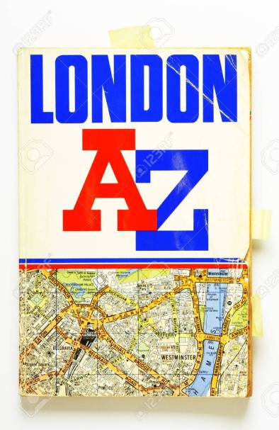 25577919-an-old-and-well-used-copy-of-the-london-a-to-z-city-guide-map-with-creased-pages-and-inserted-bookma